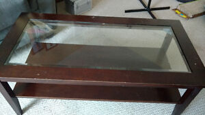 Glass and wooden coffee and end tables
