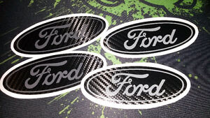 Carbon Fiber Blacked out / Grey Ford Logo Vinyl Decal - High Q.