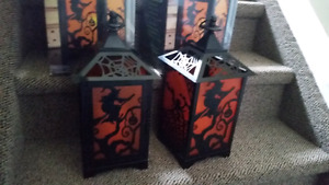 Two halloween lanterns with led candles
