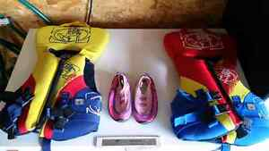 Kids Life Jackets 60 lb and Size 10 Kids Water Shoes Strathcona County Edmonton Area image 1
