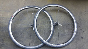 SHIMANO WHEELS 622 X 15C (w/Tires/tubes/quick release for $350)