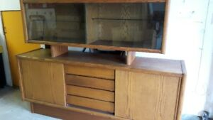 Wood display/storage cabinet with glass doors and drawers