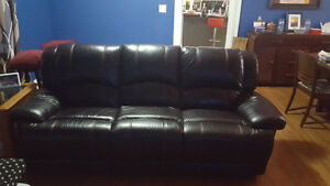 genuine leather power reclining sofa