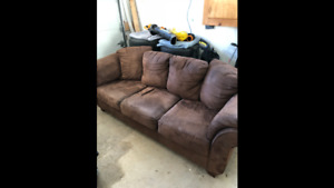 $125 - Brown micro suede couch