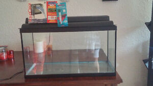 20 Gallon Fish tank with lights, filter and thermonter Never use