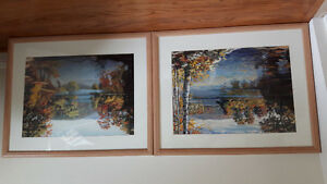 Pair of nature paintings in frames