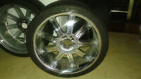 "20"" Chrome/w black Insert rims and Tires!"