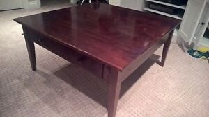 Solid maple coffee table, two side tables and sofa table