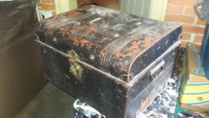 Antique Studded Metal Railway Trunk, Antique trunk w tray