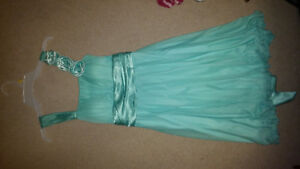 Light Turquoise Knee-High Bridesmaids / Prom Style Dress