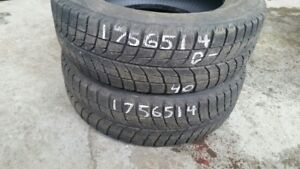 Pair of 2 Bridgestone Blizzak WS60 175/65R14 WINTER tires (40% t