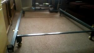 Metal Bed Frame, Adjustable, with Center Support Bar, on wheels