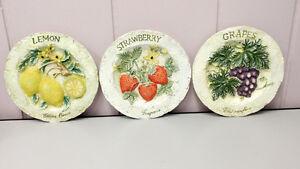 Vintage Ceramic 3d Raised Fruit Decorative Plates kitchen decor