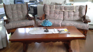Love seat, chair, coffee table & bar style table with 2 chairs