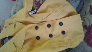 beautiful light mustard color brand new tag attached coat