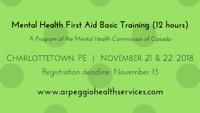 Mental Health First Aid Basic Training- Charlottetown, Nov 21-22