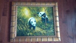Oil Painting Panda picture, bamboo frame-living room or bedroom