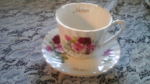 FINE BONE CHINA CUP & SAUCER, MOTHER, ENGLAND