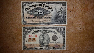 1900 AND 1923 OLD CANADIAN SHIN PLASTER 25 CENT PAPER BILLS!!!!! London Ontario image 1