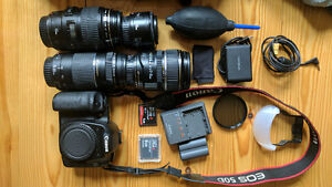 Canon SLR Bundle with 4 Lenses - 100mm, 50mm, 17-85mm, 75-300mm