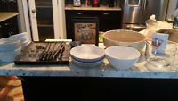 Selection of see dishes/ seafood forks and napkins hold