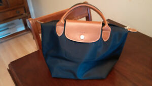 Longchamp Le Pliage small black nylon handbag .. like new