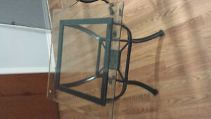 glass and black framed 3 pc coffee table set
