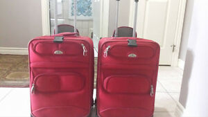 Red traval bags