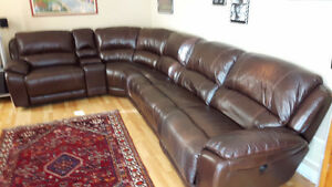 Power Recliner. Set with Console and Corner Seat - Real Leather