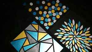 Teal, Silver & Gold Canvas Paintings Cambridge Kitchener Area image 1