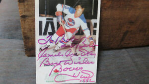 Bobby Hull signature on Algonquin beer card