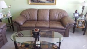 Divan / causeuse & Tables en vitre salon