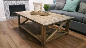 Rustic Coffee Table (wide) - accent furniture (breadboard top)