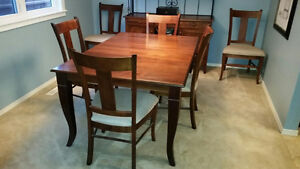 Maple dining room table, chairs and hutch