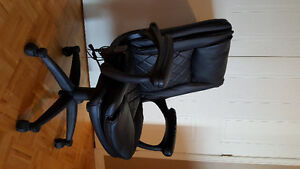 BLACK LEATHER DESK CHAIR WITH WHEELS