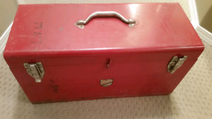 Red Vintage Metal Beach Tool Kit