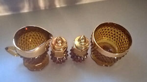 Vintage Indiana Diamond Point Amber Glass 4 Pieces Table Ware