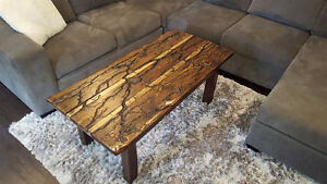 Arc Burned Coffee and end Table Reclaimed Wood