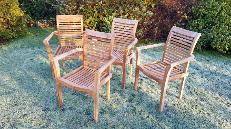Four hard wood garden chairs | in Eckington, South ...