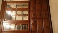 glass cabinet with dresser