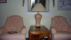 A Pair of Peach Table Lamps