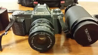 Canon t50 set with tamron sp 70 - 310mm 3.5 sf marco lenses -