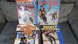 4 hockey books(Panini,Sports Pics, Superstars)(Gretzky poster)