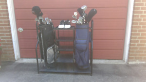 2 Sets of golf clubs with bags, rack and shoes