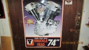 Harley Knucklehead,Panhead V-Twin Metal Engine Signs