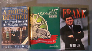 3 local interest books McCain family, Moosehead beer and Frank m
