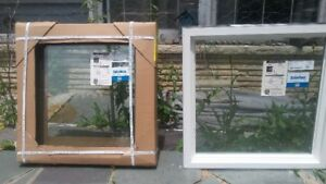 "Brand new three double pane windows 25"" W x 25"" H x 3.25"" D"