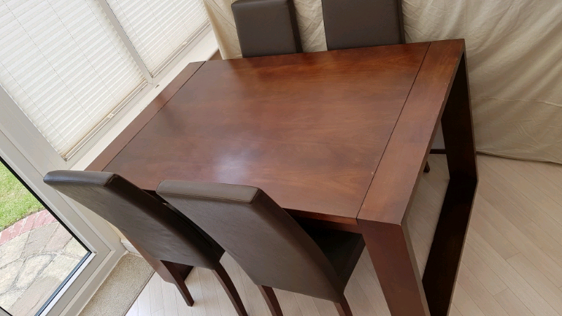 next mango dark wood extendable table and 4 matching
