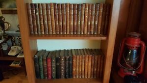 Lot of 41 antique French leather bound books 39 inches on shelf