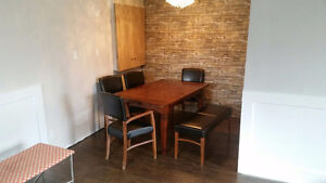 SOLID WOOD DINING TABLE 4 CHAIRS AND BENCH